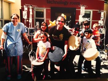 Drumbohead visits UCSF Benioff Children's Hospital